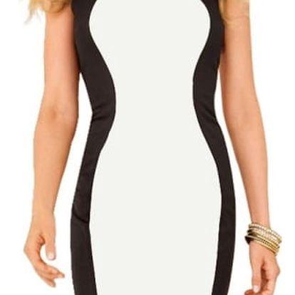 Zeštíhlující černobílé šaty velikosti 4