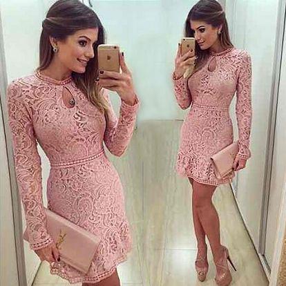 Růžové šaty s krajkou - velikost 6