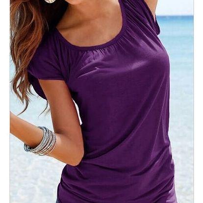 Dámské tričko s kulatým výstřihem - Fialová, velikost 2