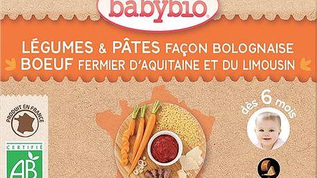 2x BABYBIO Příkrm zelenina stěstovinami na boloňský způsob s hovězím masem 200g – maso-zeleninový p