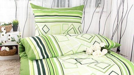 XPOSE ® Krepové povlečení HANA - zelená 140x200, 70x90