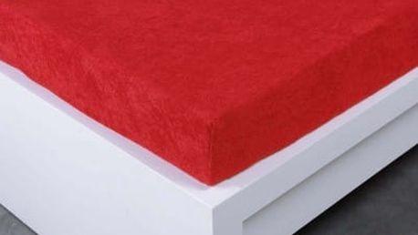 XPOSE ® Froté prostěradlo Exclusive dvoulůžko - tmavě červená 180x200 cm