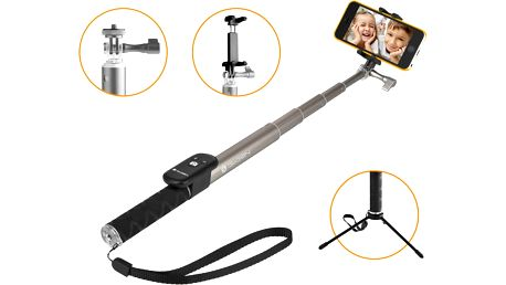 GoGEN 4 Selfie tyč teleskopická, bluetooth, titanová - GOGBTSELFIE4T