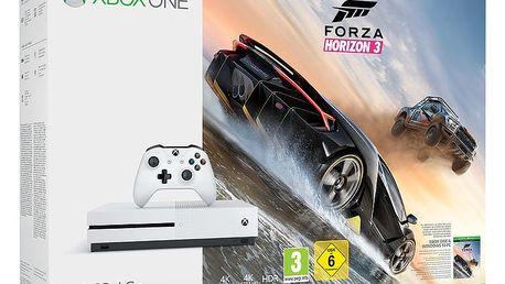 XBOX ONE S, 500GB, bílá + Forza Horizon 3 - ZQ9-00118 + Druhý ovladač Xbox, bílý v ceně 1400 kč