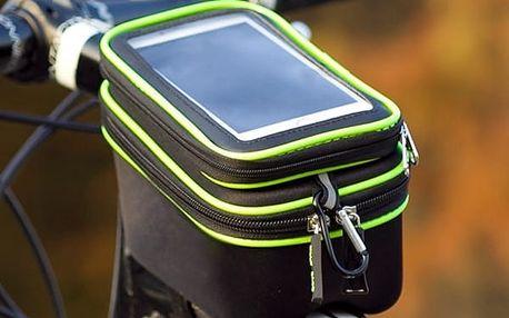 Cyklotaška s průzorem na mobil na rám kola - zelená
