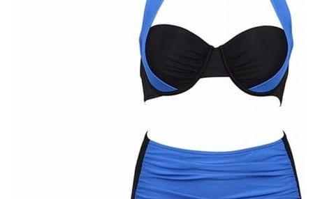 Dámské dvoudílné plavky s vysokým pasem a push-up efektem - tmavě modré s vysokým pasem, velikost 6