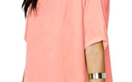 Volnější mini šaty s otvorem v rukávech - oranžové - velikost č. 3