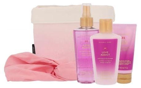 Victoria´s Secret Love Addict dárková kazeta pro ženy tělový závoj 125 ml + tělový krém 60 ml + tělové mléko 125 ml + čelenka + látkový košík