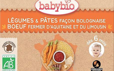 2x BABYBIO Příkrm zelenina stěstovinami na boloňský způsob s hovězím masem 200 g – maso-zeleninový