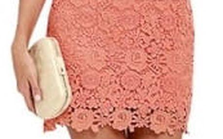 Krajkové mini šaty s obojkem - růžové, vel. 4
