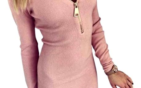 Luxusní dámské elastické šaty - růžové, vel. 4
