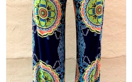 Dámské kalhoty v palazzo stylu se zajímavým motivem - velikost 4