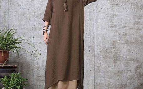 Dámské bavlněné maxi šaty v nadměrných velikostech - Hnědá, velikost 5