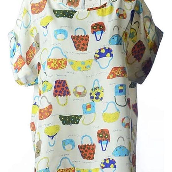 Volné šifonové tričko s veselým vzorem - varianta 3 - kabelky - velikost č. 5