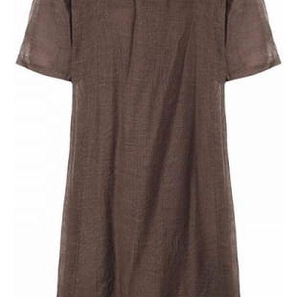 Dámské bavlněné maxi šaty v nadměrných velikostech - Hnědá, velikost 2