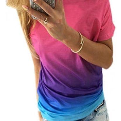 Dámské triko v duhových barvách se spadlým ramenem - Varianta 1, velikost 3