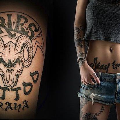 Tetování o velikosti 10x10 cm nebo úprava stávajícího v pražském studiu Aries Tattoo