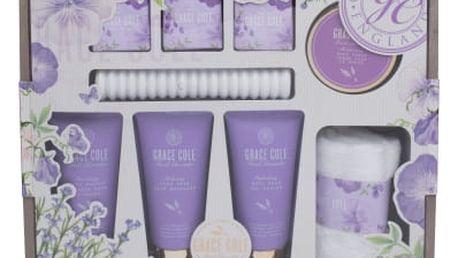 Grace Cole Fresh Lavender dárková kazeta pro ženy pěna do koupele 100 ml + sprchový gel 100 ml + tělový peeling 100 ml + tělový krém 100 ml + šumivá tableta 3 x 80 g + ručník + masážní strojek