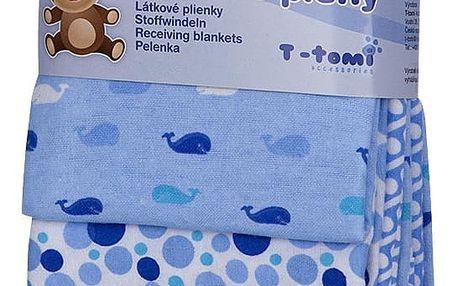 T-TOMI Látkové pleny, 76 x 76 cm sada 4 ks, modré velryby