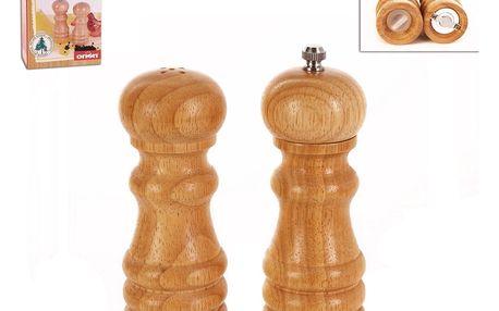 Dřevěný mlýnek na pepř a solnička