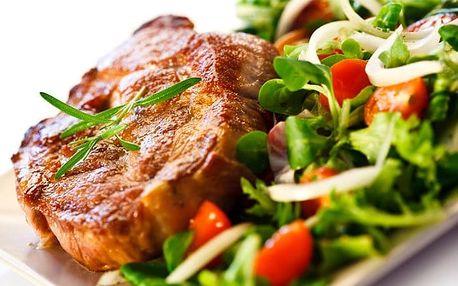 Steaková hostina pro 2 s hranolkami a dezertem v restauraci hotelu Millenium ve Varech