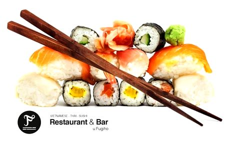 26 až 56 kousků lahodného sushi různých druhů v restauraci U Fugiho v Praze