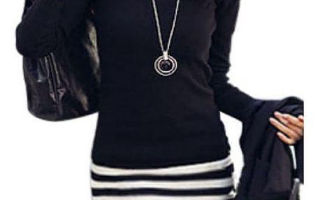 Šaty s dlouhým rukávem a vzorem proužku - velikost 4