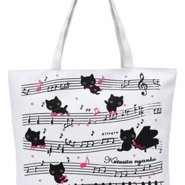 Dámská taška s kočičkami a notami