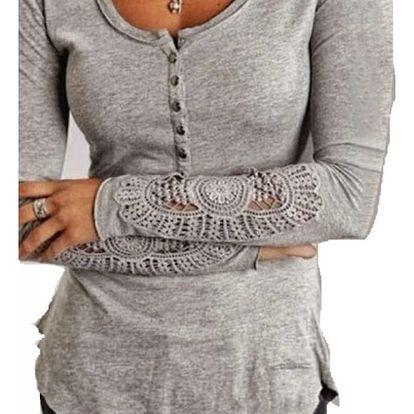 Tričko s krajkovými rukávy - šedá, velikost 2