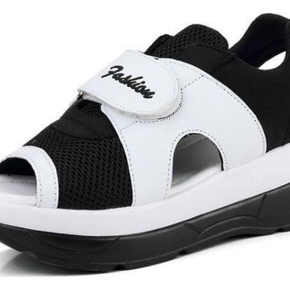 Dámské turistické sandále na suchý zip - Černobílá-24 cm (vel. 38) - dodání do 2 dnů