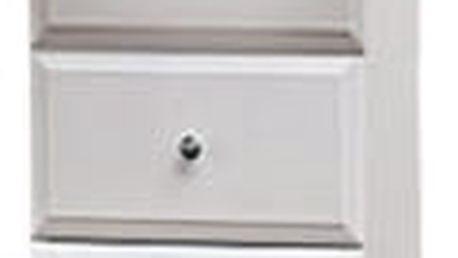 Koupelnová skříňka SD 305 s košem na špinavé prádlo (bílá, lesk)