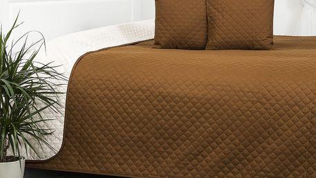 4Home Přehoz na postel Doubleface hnědá/krémová, 220 x 240 cm, 40 x 40 cm