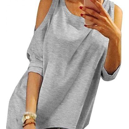 Oversize tričko s odhalenými rameny - velikost č. 2 - 9