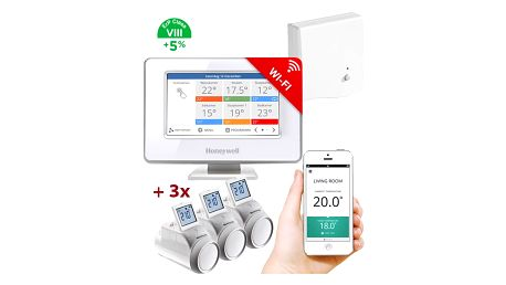 Honeywell Evohome Starter Set CZ, Evohome Touch WiFi + 3x termohlavice + BDR91, +5% ErP 8 - ATP921_EE2