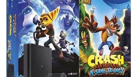 PlayStation 4 Slim, 500GB, černá + Crash Bandicoot + Ratchet & Clank - PS719867364 + Gamepad Sony DS4 V2, černý v ceně 1400 Kč