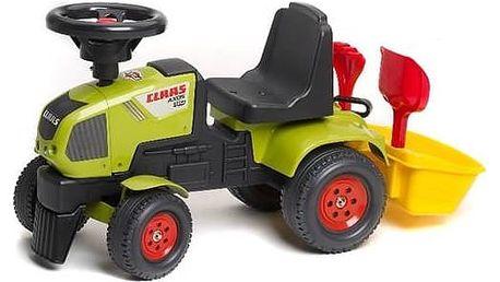 Odrážedlo plastové FALK - traktor Claas Axos 310 s volantem a přívěsným košem plast