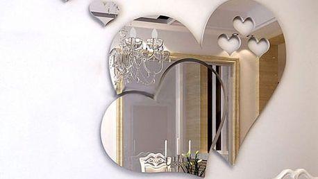 Samolepicí zrcadlo ve tvaru srdíček - dodání do 2 dnů