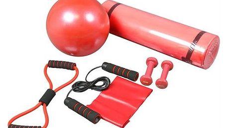 Fitness posilovací sada Brother karimatka,expandér, švihadlo, posil.stuha, vinyl.činky-červená