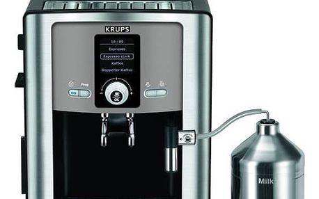 Espresso Krups Espresseria Automatic EA8050PE černé/titanium + Káva BIO zrnková Uganda 250 g Simon Lévelt v hodnotě 159 Kč + Doprava zdarma