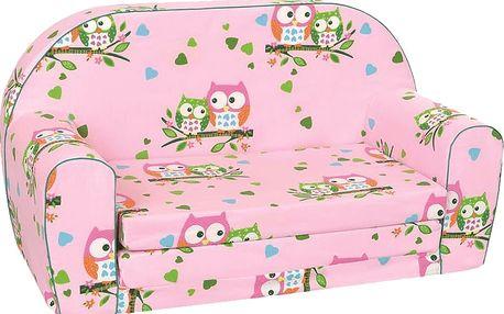 BINO Mini pohovka růžová - sovičky