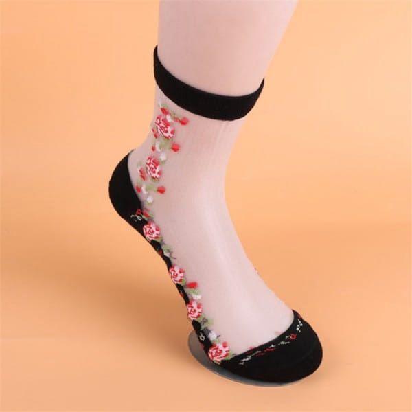 Průhledné ponožky s výšivkami - dodání do 2 dnů