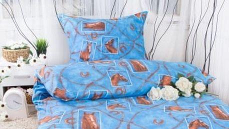 Hermann cotton Bavlněné povlečení na dvě lůžka KONĚ - modrá 140x200, 70x90