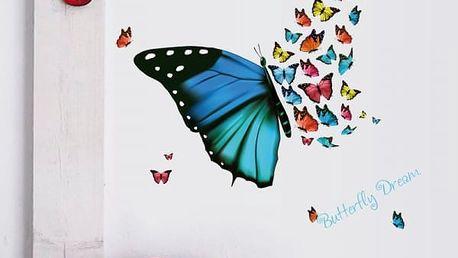 Samolepka na zeď - Hejno barevných motýlků - dodání do 2 dnů