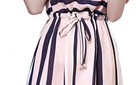 Pruhované dámské šaty