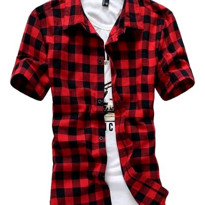 Pánská kostkovaná košile s krátkým rukávem - 4 barvy