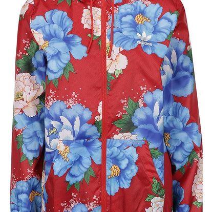 Červená květovaná dámská bunda s kapucí adidas Originals