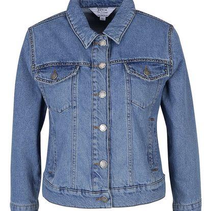 Modrá džínová bunda s aplikací ve stříbrné barvě Miss Selfridge Petites