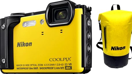 Nikon Coolpix W300, žlutá - Holiday kit - VQA072K001