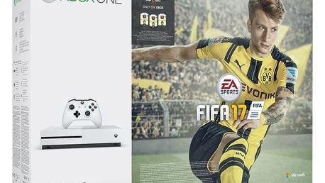 XBOX ONE S, 500GB, bílá + FIFA 17 - ZQ9-00056 + Druhý ovladač Xbox, bílý v ceně 1400 kč