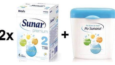 Kojenecké mléko Sunar Premium 2, 600g x 2ks + dóza + Doprava zdarma